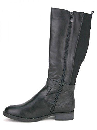 Cendriyon, Botte Cavalière Noire LILINA Mode Chaussures Femme Noir