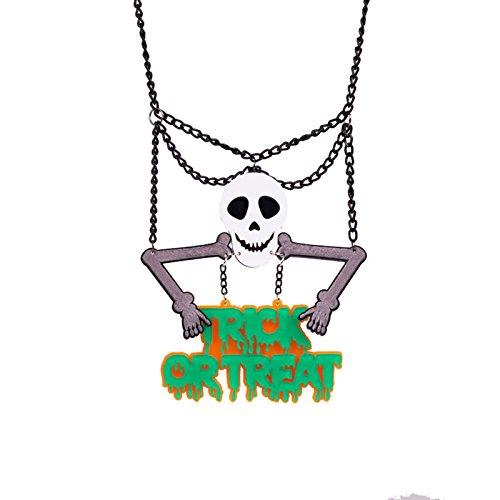 Treat Trick Oder Kinder Für Kostüm (Beydodo Mode Schmuck Halloween Vergoldet Damen Kette mit Anhänger Schädel Totenkopf mit