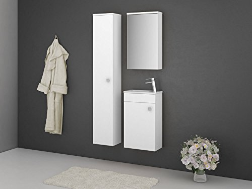 Badmöbel-Set Gabun - 40 cm breit - Weiß - Badezimmermöbel Waschtisch mit Unterschrank Spiegelschrank mit Beleuchtung und Hochschrank Sieper Jokey