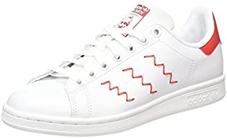 adidas Stan Smith, Women's Running Shoes, White (Ftwr White/Ftwr White/Collegiate Red), 7 UK (40.5 EU)