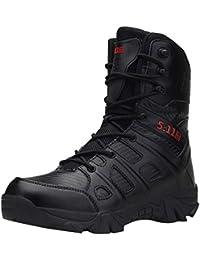 Zapatos de hombre JiaMeng Zapatos con Cordones Botines Adventure Adulto Cómodo Antideslizante Combate Resistente al Desgaste para Caminar al Aire Libre Botas Militares