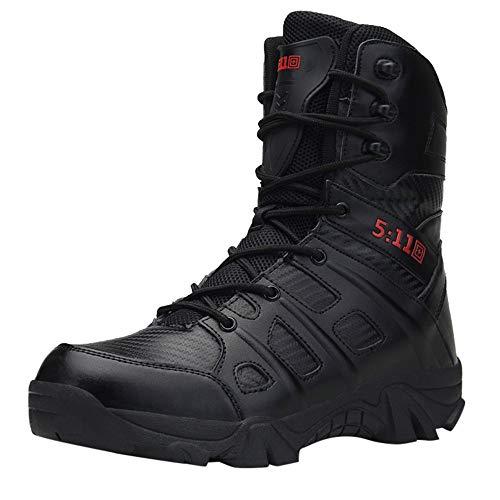Scarpe Sportive da Uomo ASHOP Stivale Militare da Trekking Resistente all'Usura Anti-Scivolo, Comodo da Uomo Nero EU 44