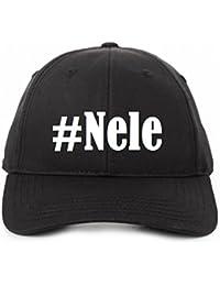 Base Cap Hashtag #Nele Baseball Cap Basecap Hashtag Raute für Damen Herren und Kinder ... in den Trendfarben Schwarz und Weiß Hip Hop Streetwear .. Baseball-Mütze mit dem großen Schirm