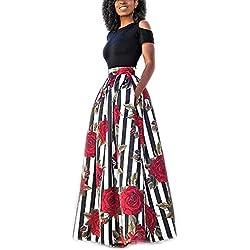 YIPIN 2 Piezas Mujer Vestidos Casual Verano para Boda Básica Top sin Tirantes + Falda Largos Retro Rosa Impresaho de Fiesta Playa Ceremonia,Color 1,XXL