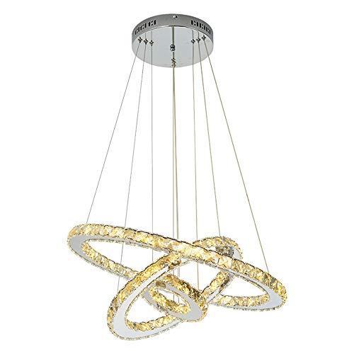 JYXZ Kristall Kronleuchter Dimmbar Pendelleuchten Moderner Deckenleuchten zum Wohnen Esszimmer Schlafzimmer Rund Chrom
