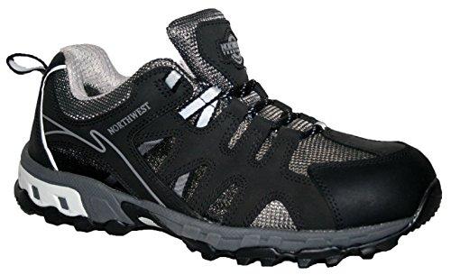 Trekking Shoes Bottes En Cuir, Chaussures De Sport Imperméables Noir / Gris