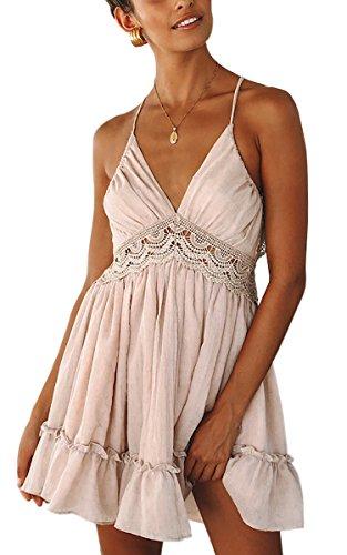 ECOWISH V Ausschnitt Kleid Damen Spitzenkleid Träger Rückenfreies kleider Sommerkleider Strandkleider Rosa - Weiß Trägerlos Sommerkleid