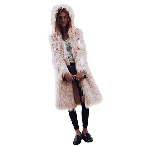 Manteau à Capuche Femme,LMMVP Femmes Fausse Fourrure Doux Chaud Manteau à Capuchon Manteau de Survêtement Parka à Longue Veste rose