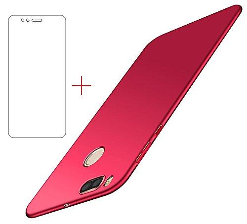 Funda Xiaomi Mi A1/ Xiaomi Mi 5X , UCMDA Xiaomi Mi A1 Carcasa con [Protector de Pantalla de Cristal Templado] [Ultra-Delgado] [Ligera] Anti-rasguños Estuche para Case Xiaomi Mi A1/ Xiaomi Mi 5X- Rojo