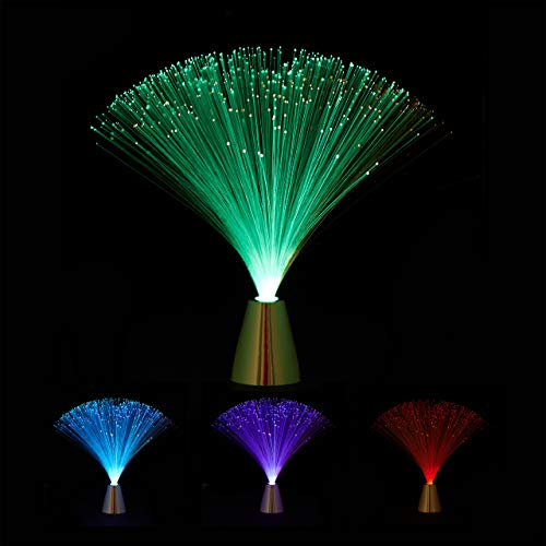 Relaxdays Glasfaserlampe, fließender Farbwechsel, LED Retrolampe, Stimmungslicht, Effektleuchte Fiberglas, 33 cm, bunt -
