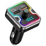 WZHESS Adaptador Bluetooth para automóvil, transmisor FM Bluetooth para automóvil, Receptor Bluetooth con Llamadas Manos Libres, Cargador para automóvil QC3.0, Tarjeta Microsd de Soporte