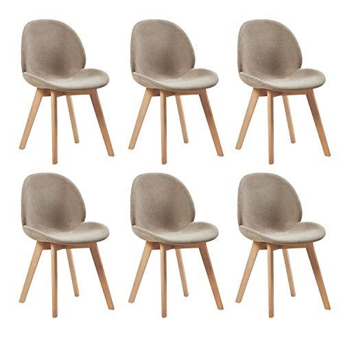 EGGREE Scandinave Lot de 6 Chaises de Salle à Manger en Lin Chaise de Salon Design Rétro avec Jambe de Bois de Hêtre Massif, Gris Crémeux
