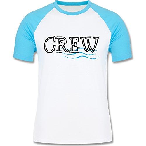 JGA Junggesellenabschied - Crew - zweifarbiges Baseballshirt für Männer Weiß/Türkis