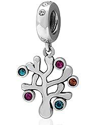 Colorful Familia etiqueta de árbol de la vida plata de ley 925Bead Pandora