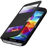 Flip Cover Tasche Samsung Galaxy S5 Mini SM-G800 / S5 mini Duos G800H/DS Schutz Hülle Handytasche Klapptasche Bookcase Buchtasche Case Schwarz + mit Sichtfenster + Fol