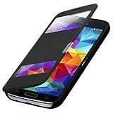 Q1 Flip Cover Tasche Samsung Galaxy S5 Mini SM-G800 / S5 Mini Duos G800H/DS Schutz Hülle Handytasche Klapptasche Bookcase Buchtasche Case Schwarz + mit Sichtfenster + FOL