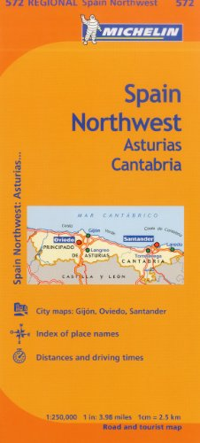 Michelin Spain: Northwest, Asturias, Cantabria Map 572 por Michelin