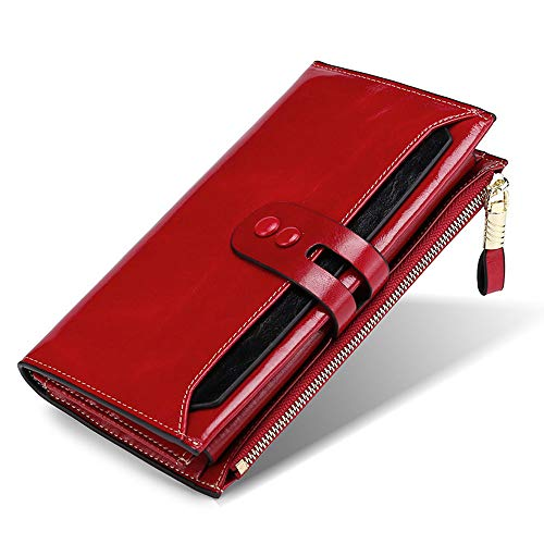 BaiGe Damen Geldbörse mit RFID-blockierender Geldbörse mit großer Kapazität, echtes Leder, Geldbörse mit Reißverschlusstasche Rot weinrot M (Wallets Women Gucci)