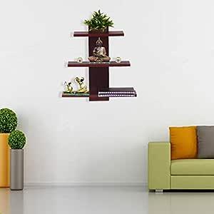 Acco & Deco Wall Decor Book Shelf/Wall Display Rack (3 Shelves) - Ideal for Gift (Standard, Mahogany)