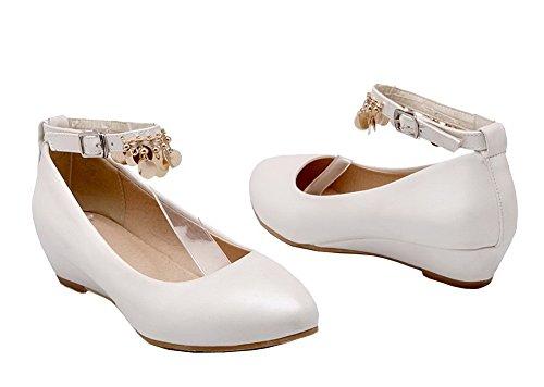 AgeeMi Shoes Donna Punta Chiusa Luccichio Fibbia Tacco Basso Ballet-Flats Bianco
