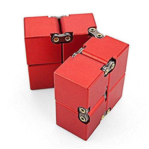 KENROLL Infinity Fidget Magic Cube Sensory Toy Alluminio Puzzle Box Design Anti Stress e sollievo di ansia Promuove la messa a fuoco, la chiarezza (Rosso) - 5