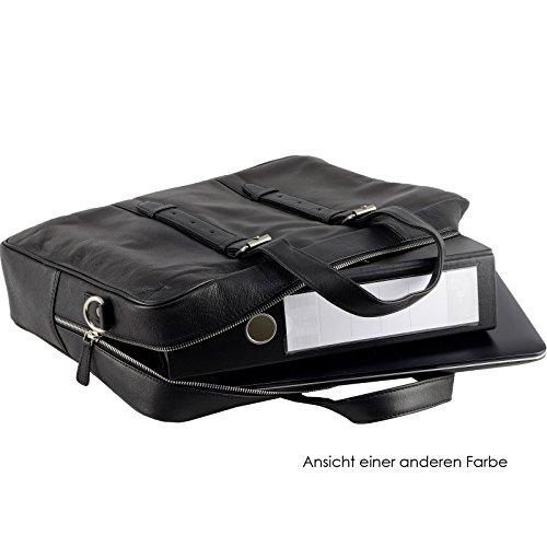 Echt Leder Aktentasche Schultertasche Umhängetasche DIN-A4 Laptoptasche 15,6 Henkeltasche Messenger Bag schwarz Braun