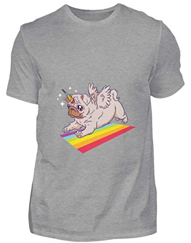 MOPS Einhorn Regenbogen T-Shirt Hoodie - Herren Premiumshirt -XXL-Grau Meliert -