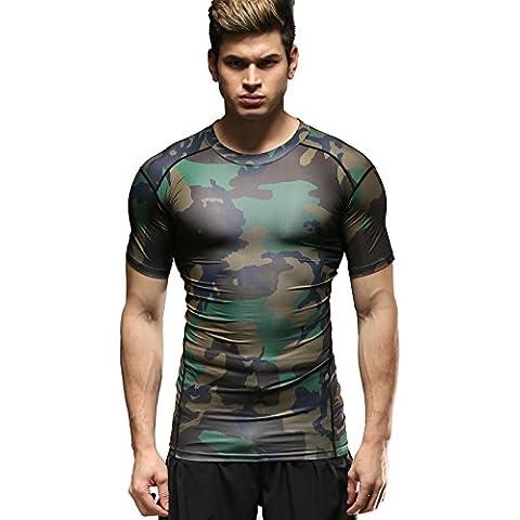 Cody Lundin Uomo Manica Corta Shirt Splicing maglia Stampato Camo Maglietta Maniche Corte Sport Fitness (88 Camo)