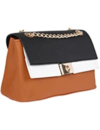 Fur Jaden Tan Ladies Cross Body Sling Bag For Woman With Gold Chain