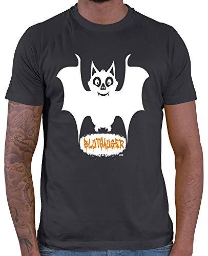 Shirt Kostüm Plus Erwachsene Für - HARIZ  Herren T-Shirt Blutsauger Halloween Kostüm Horror Kürbis Plus Geschenkkarte Dunkel Grau XXL
