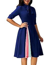 Vestiti Donna Estivi Eleganti Al Ginocchio Abiti Da Giorno Fashionable  Dresses Moda Colori Misti Mezza Manica a4d7ed95285