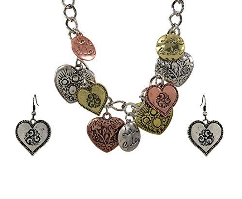 Tri Ton Lätzchen Herz Charm Halskette und Ohrring Set (Tiffany-armband-set)