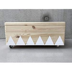 Holz Spielzeugkiste Weiß - Rollen Triangel skandinavisch mit Deckel - Groß