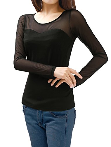 Allegra K Voir à travers les femmes Allegra K Meshy Long Sleeve Shirt Pull solide Black