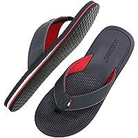 AX BOXING Chanclas Hombre Playa Caballeroso Cuero Flip Flop Sandalias Azul Rojo Antideslizante Interior Al Aire Libre Tamaño 40-46