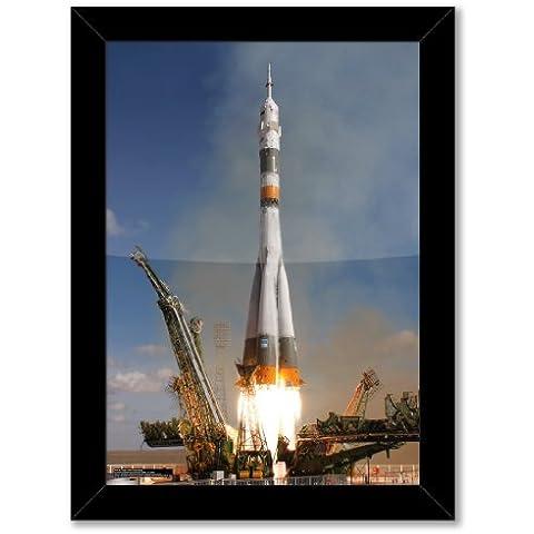 poster con stampa artistica: Soyuz tma-13Spacecraft Expedition 18(formato A3, dimensioni: 29,7x 42/11,7x 16.5in, Carta fotografica lucida, Telaio in legno nero, pronto da appendere)