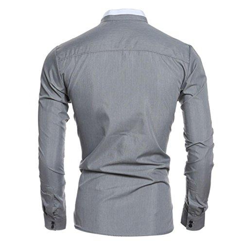 WOCACHI Herren Herbst Dünner Mode Langarmshirts Männer Persönlichkeit Casual Slim Langarm Shirt Tops Bluse Grau