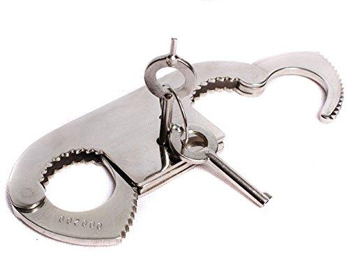 MFH Menottes de pouces en acier inoxydable ultra résistant Double système de verrouillage 2 clés incluses