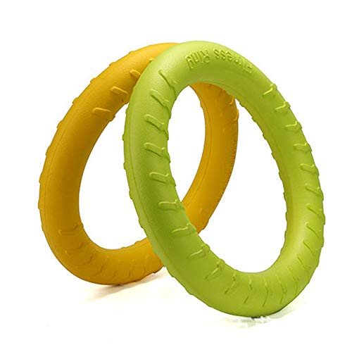 Sunger Durable Pet Übung Spielzeug Gummi Pull Ring Trainingsring Natürliche Tauziehen Pet Molar Spielzeug Hund Spiel Hund Kauen Spielzeug - Gelb -