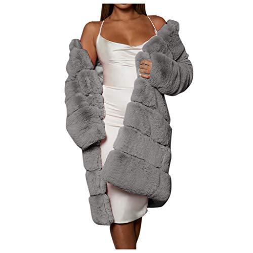 FRAUIT Wollmantel Damen Oversize Pelz Faux Jacke Lange Warm Parka Kurzschluss-Imitat-Mantel Cardigan Outwear Strickjacke Casual Festlich Party Kleidung Bluse Top Coat