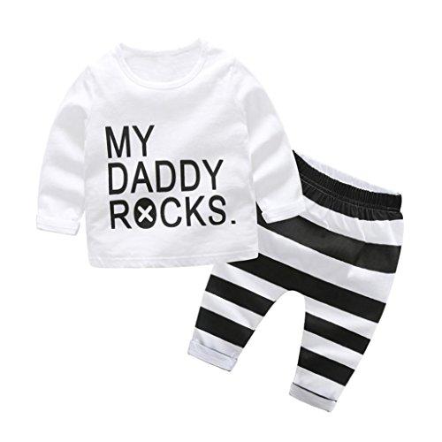 Bio-onesies (kinderkleidung WINWINTOM Neugeborenen Baby Jungen Mädchen Cartoon Print Tops Shirt Print Hosen 2 Stücke Outfits (Weiß-A, 90cm))