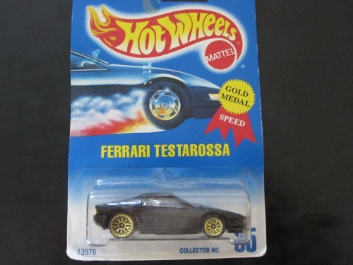 Ferrari Testarossa Hot Wheels #35 Black with Gold Wire Spoke Wheels Blue White Card by Hot Wheels