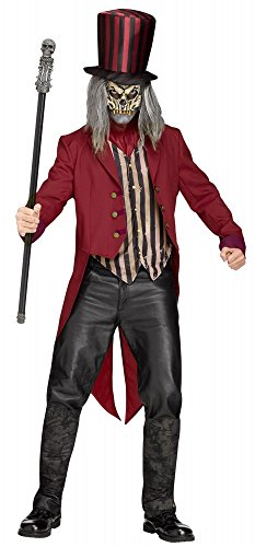 Freak Show Ring Master Herren-Kostüm Gruseliger Horror Zirkusdirektor Halloween Dompteur Skelett Zombie, ()