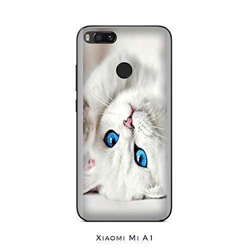 Funda Mi A1 Carcasa Xiaomi Mi A1 mascotas Gato blanco con ojos azules / Cubierta Imprimir también en los lados / Cover Antideslizante Antideslizante Antiarañazos Resistente a golpes Protectora Rígi