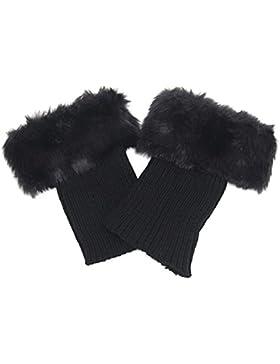 Butterme Faux Fur Leg accessori calze stivali invernali donne Scaldamuscoli Knit Stivali Calze Topper Cuff (Nero)