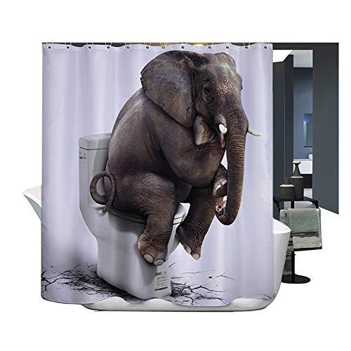 Harson&Jane Hochwertige Digitaldruck dickerem Material ist wasserdicht DuschvorhangGröße:180*180 180*200 (180*200, Elefant) - Elefanten-dusche