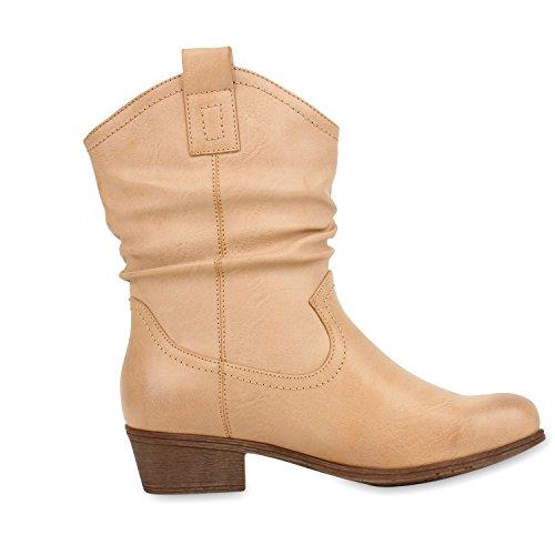Damen Cowboy Boots Lederoptik Stiefeletten Blockabsatz Stiefel Hellbraun