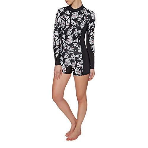 BILLABONG Damen Spring Fever 2mm Zurück Zip Long Sleeve Boy Leg Shorty aus schwarzem Sand - Sommeranzug für alle Wassersportarten -