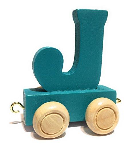 *Buchstabenzug bunt | bunte Lok – farbige Waggons | Wunschname zusammenstellen | Holzeisenbahn | EbyReo® Namenszug aus Holz | personalisierbar | auch als Geschenk Set (Farbe Türkis, Buchstabe J)*