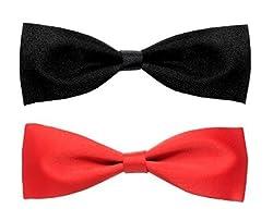 Sorella'z Satin Black & Red Thin Long Bowtie Combo for Men's